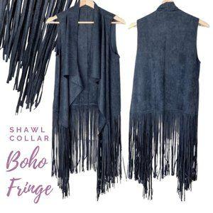 Boho Micro Suede Long Fringe Vest | Shawl Collar